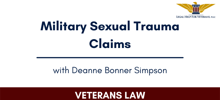 Military Sexual Trauma Claims Webcover